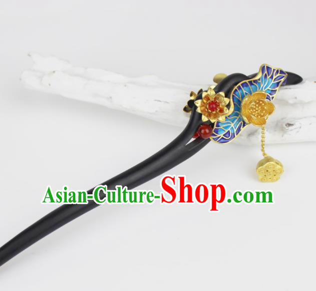 Chinese Ancient Handmade Hanfu Blueing Hair Clip Ebony Hairpins Hair Accessories for Women