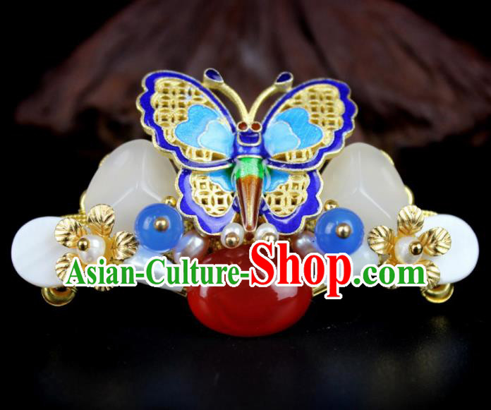 Chinese Ancient Handmade Hanfu Blueing Butterfly Hair Claw Hairpins Hair Accessories for Women
