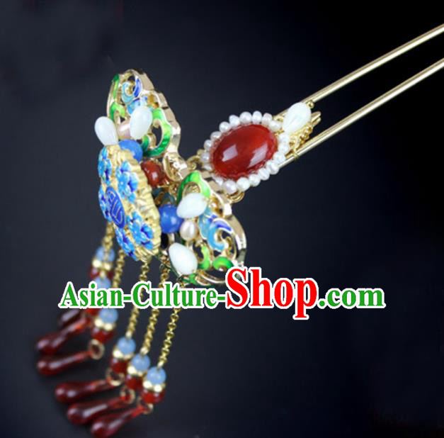 Chinese Ancient Handmade Hanfu Hair Clip Blueing Hairpins Hair Accessories for Women