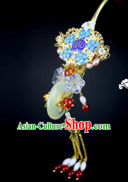 Chinese Ancient Handmade Hanfu Blueing Hair Clip Jade Hairpins Hair Accessories for Women