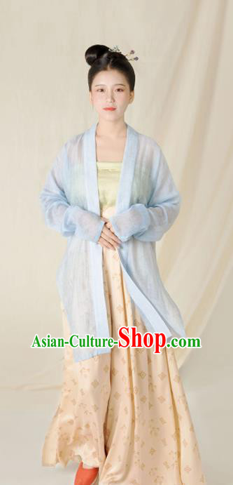 Top Grade Chinese Ancient Song Dynasty Young Lady Hanfu Dress Blue Clothing for Women