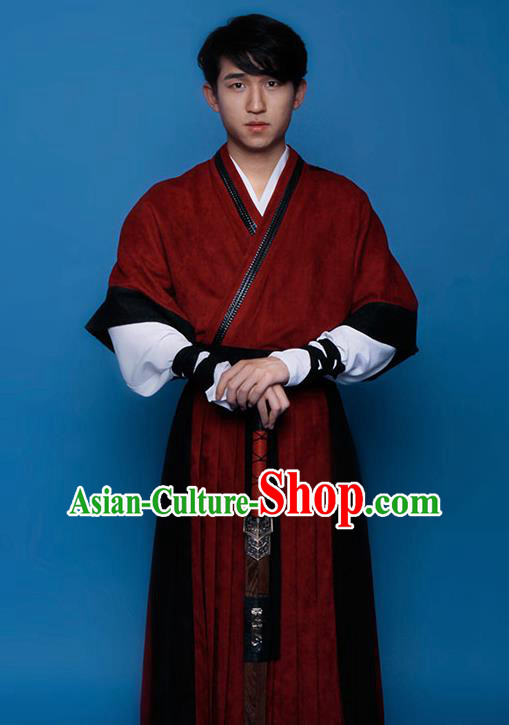 Top Grade Chinese Ancient Costumes Han Dynasty Swordsman Hanfu Clothing for Men