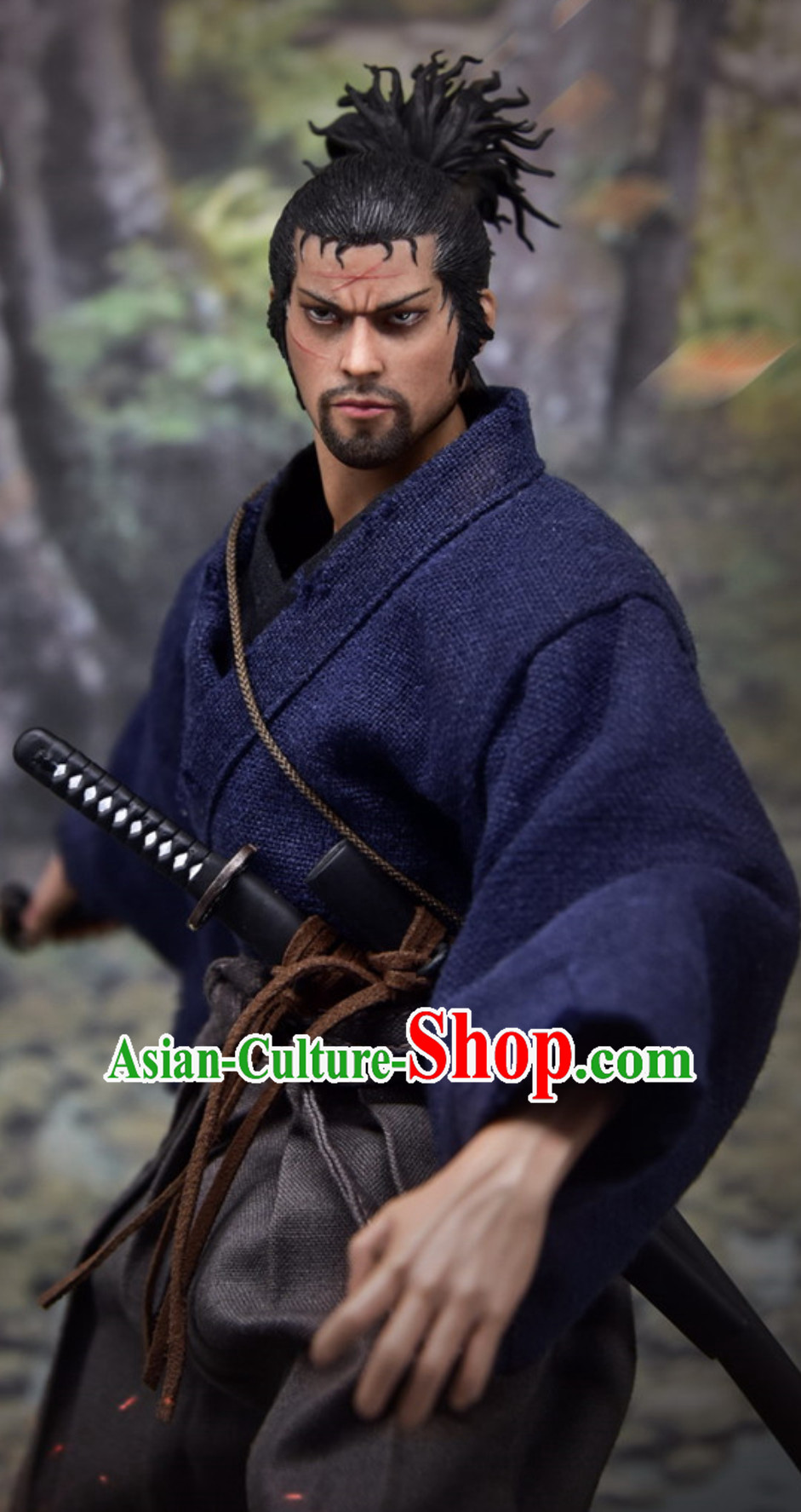 Ancient Japanese Warrior Costumes Samurai Costume Mitamoto Musashi Replica Kimono Dresses Clothing Complete Set