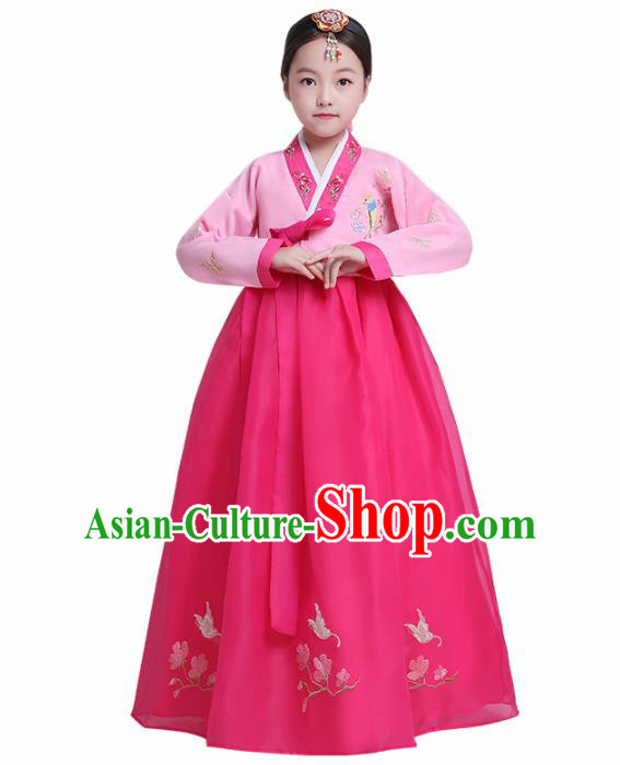 Asian Korean Traditional Costumes Korean Hanbok Pink Blouse and Rosy Skirt for Kids