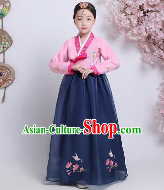 Asian Korean Traditional Costumes Korean Hanbok Pink Blouse and Navy Skirt for Kids