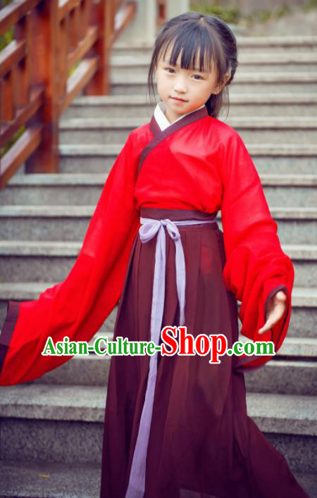 Traditional Chinese Ancient Costumes Jin Dynasty Princess Red Hanfu Dress for Kids