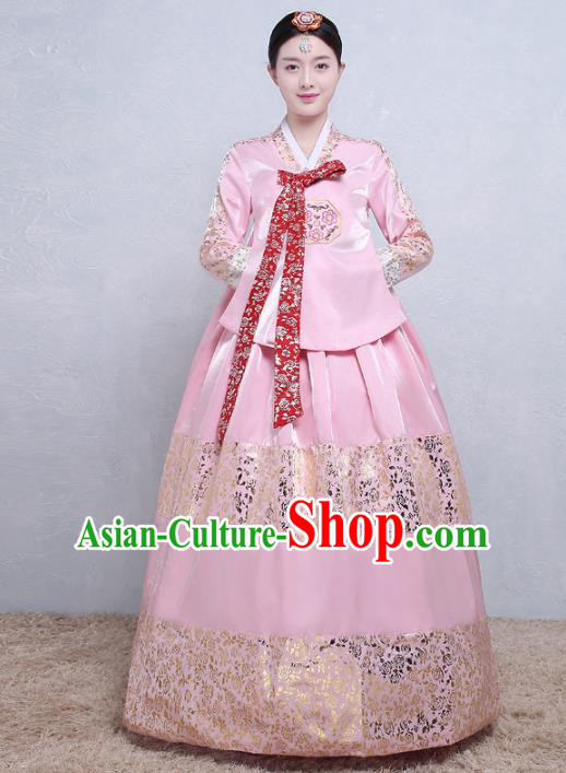 Asian Korean Traditional Costumes Korean Palace Hanbok Embroidered Pink Blouse and Skirt for Women