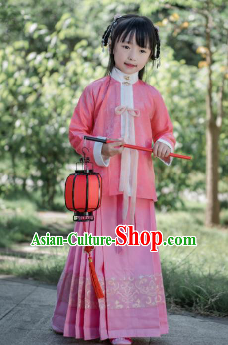 Traditional Chinese Ancient Costumes Ming Dynasty Princess Clothing Pink Blouse and Skirt for Kids