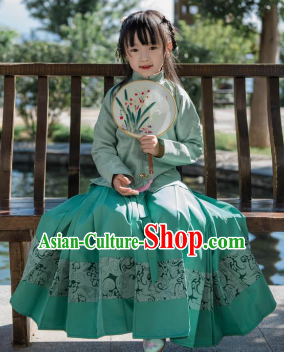 Traditional Chinese Ancient Costumes Ming Dynasty Princess Clothing Green Blouse and Skirt for Kids