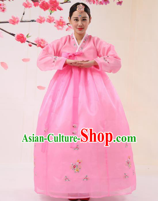 Korean Traditional Costumes Asian Korean Palace Hanbok Bride Embroidered Pink Blouse and Skirt for Women