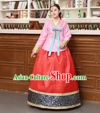 Korean Traditional Costumes Asian Korean Hanbok Palace Bride Embroidered Pink Blouse and Red Skirt for Women