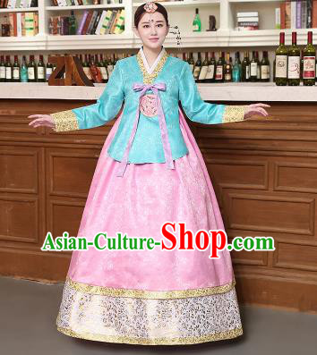 Korean Traditional Costumes Asian Korean Hanbok Palace Bride Embroidered Blue Blouse and Pink Skirt for Women