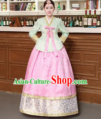 Korean Traditional Costumes Asian Korean Hanbok Palace Bride Embroidered Green Blouse and Pink Skirt for Women