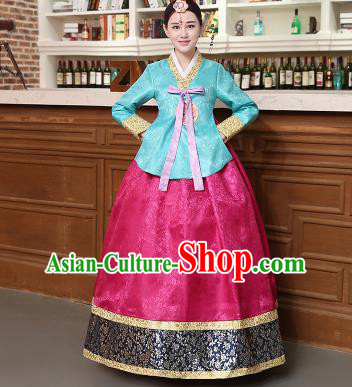 Korean Traditional Costumes Asian Korean Hanbok Palace Bride Embroidered Blue Blouse and Rosy Skirt for Women