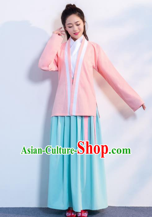 Traditional Chinese Ancient Hanfu Dress Song Dynasty Female Scholar Pink Costumes for Women