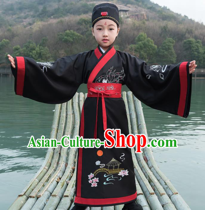 Traditional Chinese Ancient Scholar Costumes Han Dynasty Minister Black Embroidered Robe for Kids