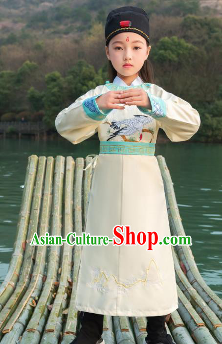 Traditional Chinese Ancient Scholar Costumes Tang Dynasty Swordsman White Embroidered Robe for Kids