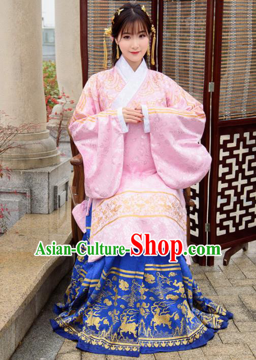 Traditional Chinese Ancient Ming Dynasty Palace Princess Costumes Pink Cloak and Blue Skirt for Women