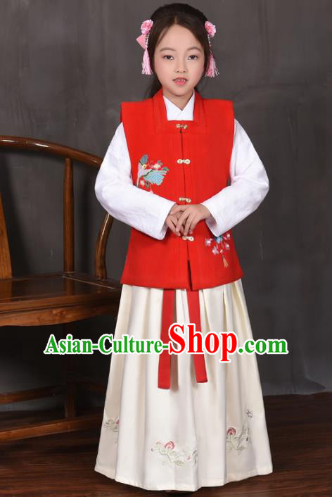 Traditional Chinese Ancient Ming Dynasty Princess Costume Red Vest for Kids