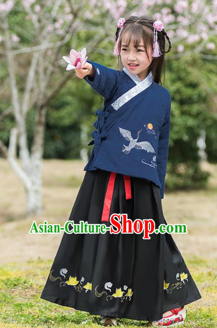 Traditional Chinese Ancient Ming Dynasty Costumes Navy Blouse and Black Skirt for Kids