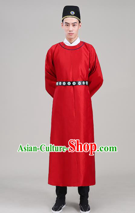 Traditional Chinese Ancient Tang Dynasty Swordsman Costume Officials Red Robe for Men