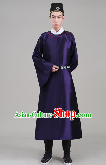 Traditional Chinese Ancient Tang Dynasty Swordsman Costume Officials Purple Robe for Men