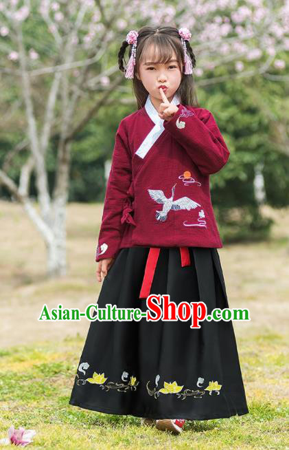 Traditional Chinese Ancient Ming Dynasty Costumes Wine Red Blouse and Black Skirt for Kids