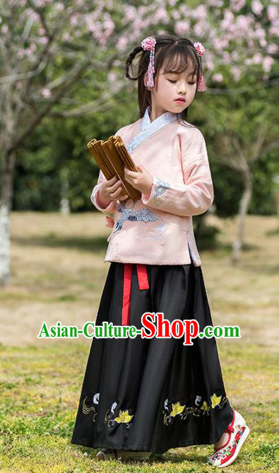 Traditional Chinese Ancient Ming Dynasty Costumes Pink Blouse and Black Skirt for Kids