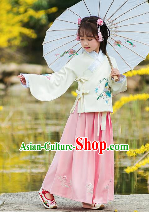 Traditional Chinese Ancient Ming Dynasty Princess Costumes White Blouse and Pink Skirt for Kids