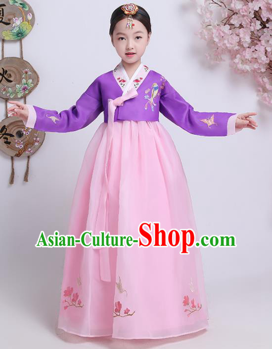 Asian Korean Traditional Costumes Korean Hanbok Purple Blouse and Pink Skirt for Kids