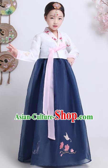 Asian Korean Traditional Costumes Korean Hanbok White Blouse and Navy Skirt for Kids