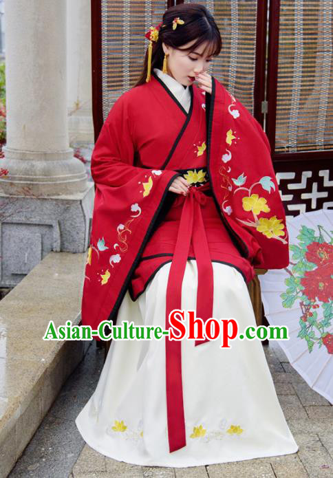 Traditional Chinese Ancient Hanfu Dress Han Dynasty Princess Red Costumes for Women