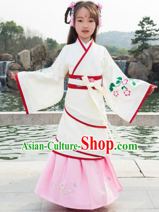Traditional Chinese Ancient Han Dynasty Princess White Costumes for Kids