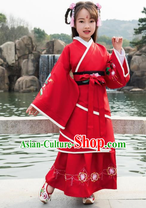 Traditional Chinese Ancient Han Dynasty Princess Red Costumes for Kids