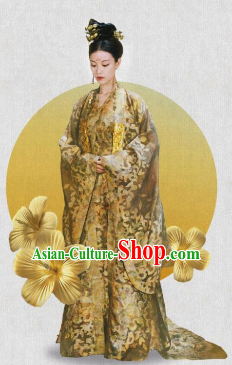 The Rise of Phoenixes Traditional Chinese Ancient Tang Dynasty Empress Embroidered Costumes and Headpiece Complete Set