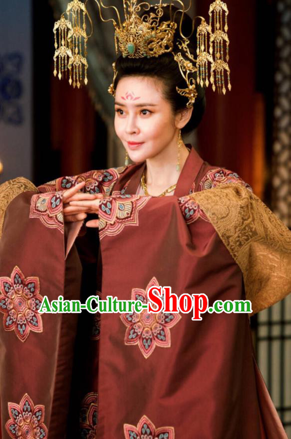 Chinese Ancient The Rise of Phoenixes Hanfu Dress Tang Dynasty Imperial Consort Embroidered Costumes and Headpiece Complete Set