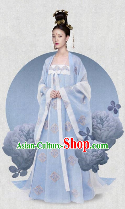 Ancient Chinese Drama The Rise of Phoenixes Tang Dynasty Crown Princess Embroidered Costumes and Headpiece Complete Set