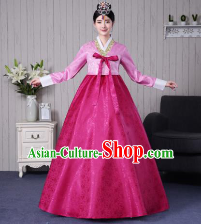 Traditional Korean Palace Costumes Asian Korean Hanbok Bride Pink Blouse and Rosy Skirt for Women