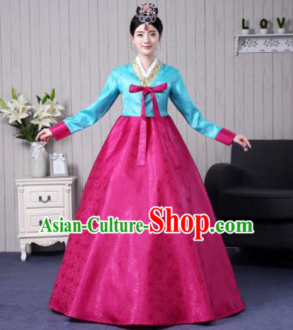 Traditional Korean Palace Costumes Asian Korean Hanbok Bride Blue Blouse and Rosy Skirt for Women