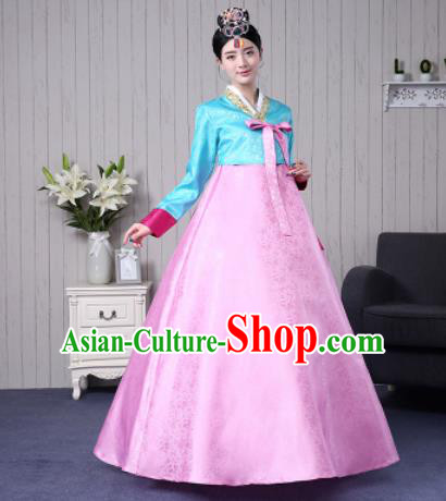 Traditional Korean Palace Costumes Asian Korean Hanbok Blue Blouse and Pink Skirt for Women