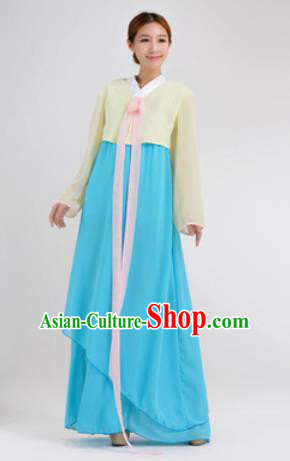 Traditional Korean Costumes Asian Korean Hanbok Yellow Blouse and Blue Skirt for Women