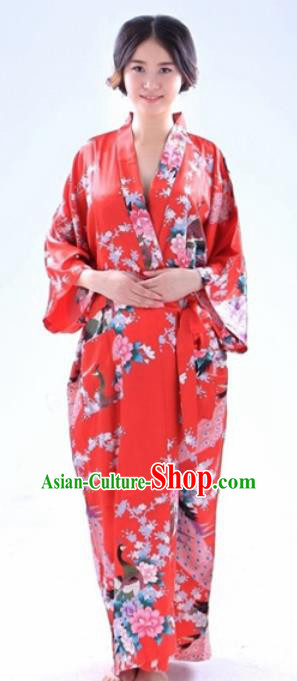 Traditional Japanese Costumes Asian Japan Kimono Red Yukata for Women