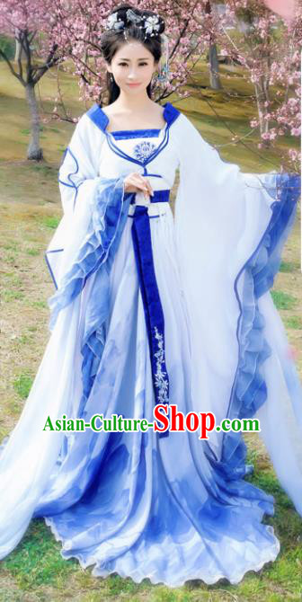 Chinese Ancient Cosplay Peri Costumes Traditional Tang Dynasty Princess Blue Hanfu Dress for Women