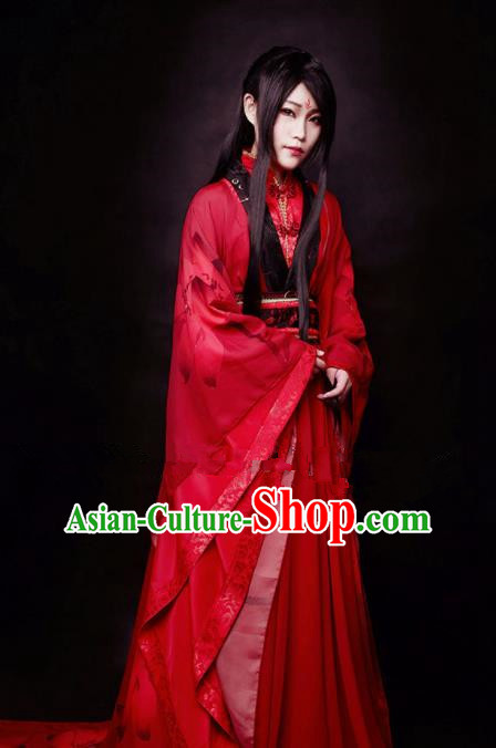 Chinese Ancient Cosplay Swordswoman Red Hanfu Dress Traditional Han Dynasty Princess Costume for Women