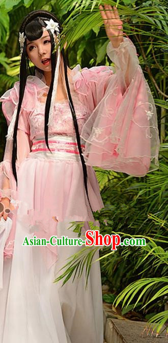 Chinese Ancient Cosplay Peri Pink Hanfu Dress Traditional Tang Dynasty Swordswoman Costume for Women