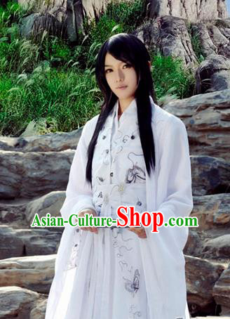 Chinese Ancient Swordsman White Hanfu Han Dynasty Nobility Childe Costume for Men