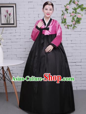 Korean Traditional Palace Costumes Asian Korean Hanbok Bride Pink Blouse and Black Skirt for Women