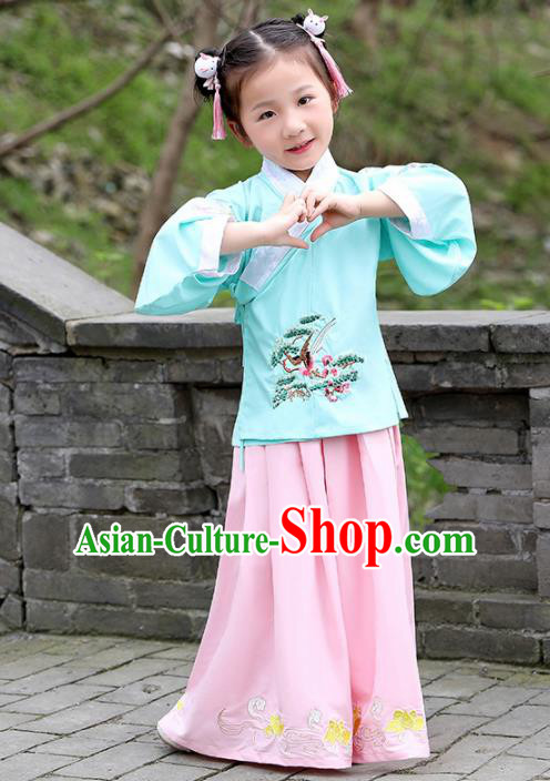 Traditional Chinese Ancient Ming Dynasty Costumes Green Blouse and Pink Skirt for Kids