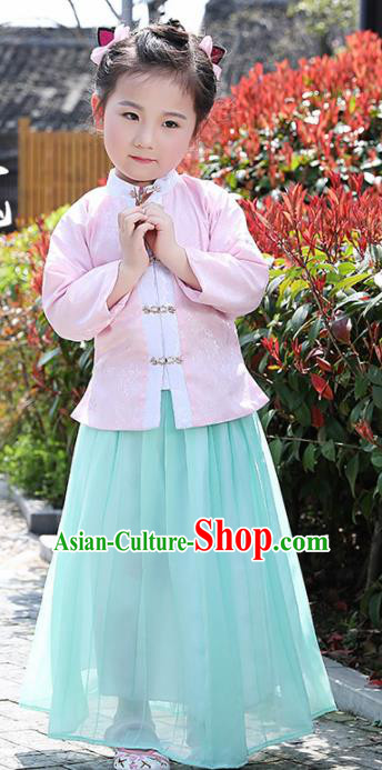 Chinese Ancient Ming Dynasty Costumes Traditional Pink Blouse and Green Skirt for Kids