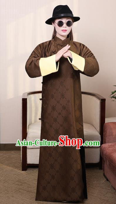 Chinese Ancient Republic of China Costumes Traditional Brown Long Robe for Men